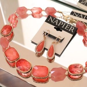 "Napier Pink Coral 19"" Necklace and Teardrop Coral"